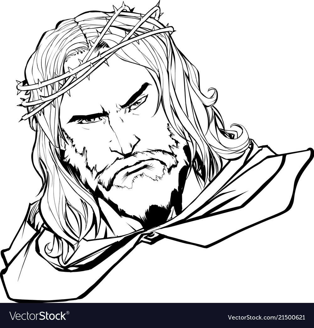 Jesus portrait 2 line art