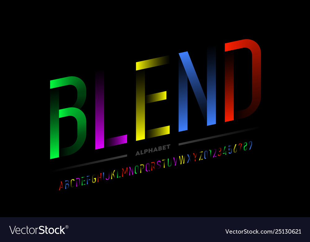 Modern colorful font design alphabet letters and