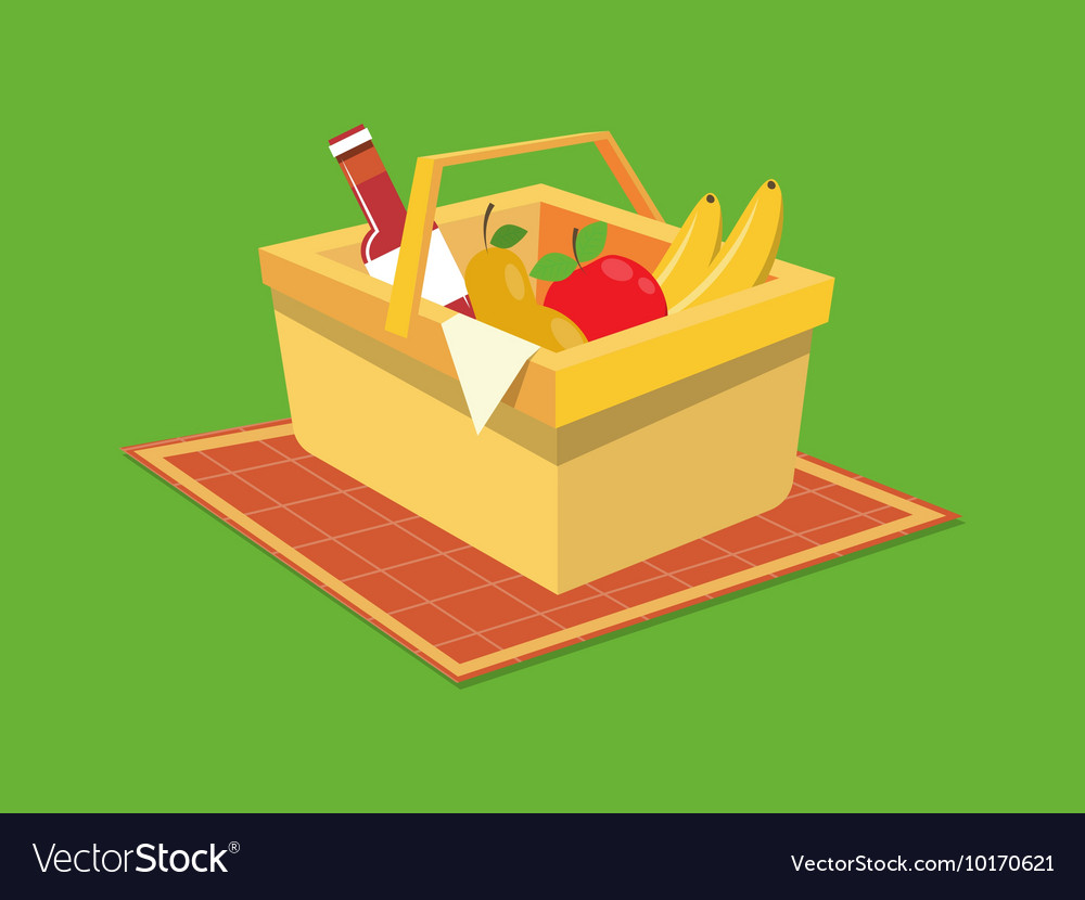 Picnic Basket Food Cartoon Royalty Free Vector Image