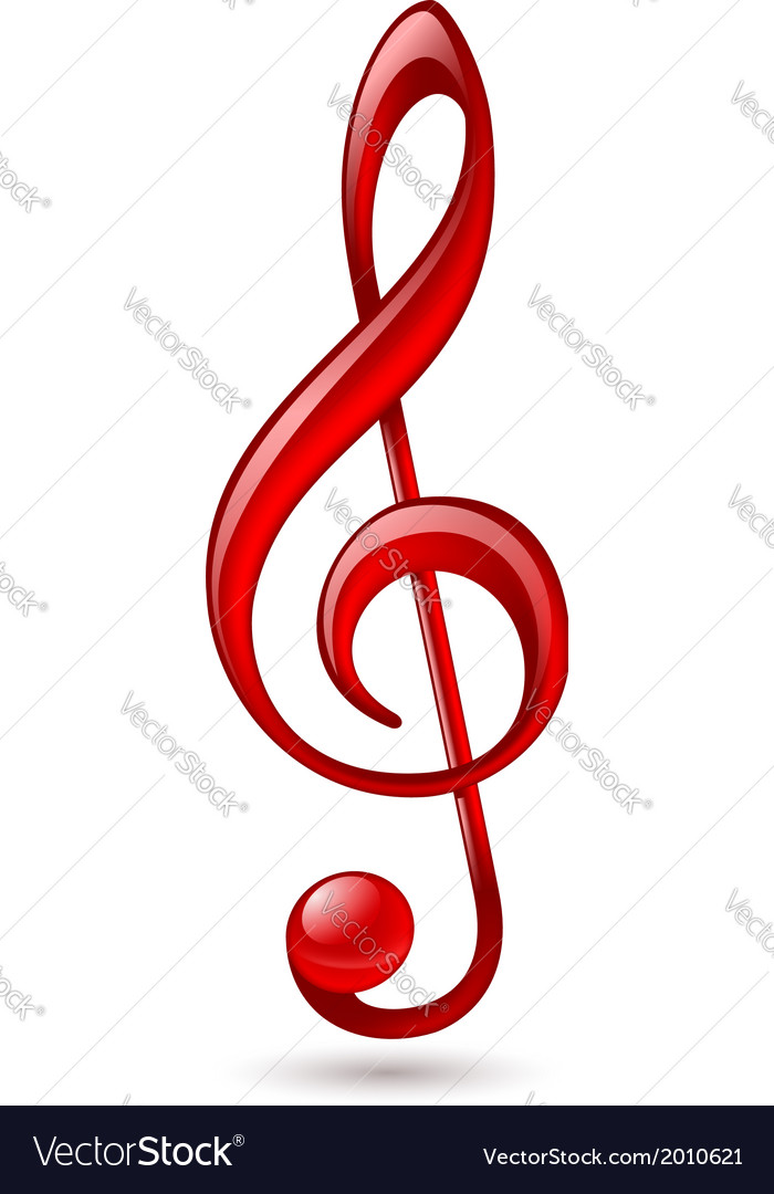red treble clef royalty free vector image vectorstock rh vectorstock com treble clef vector ai treble clef vector graphic