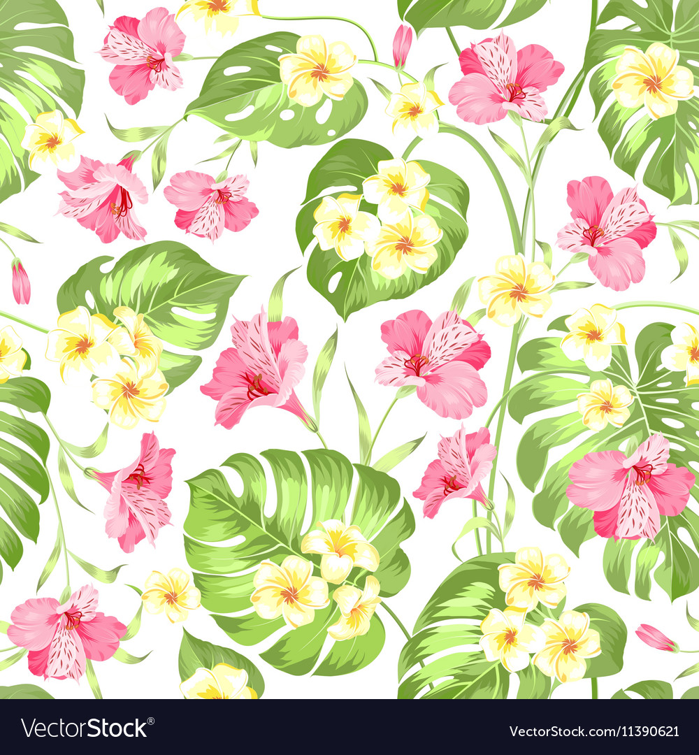 Seamless tropical flower vector image