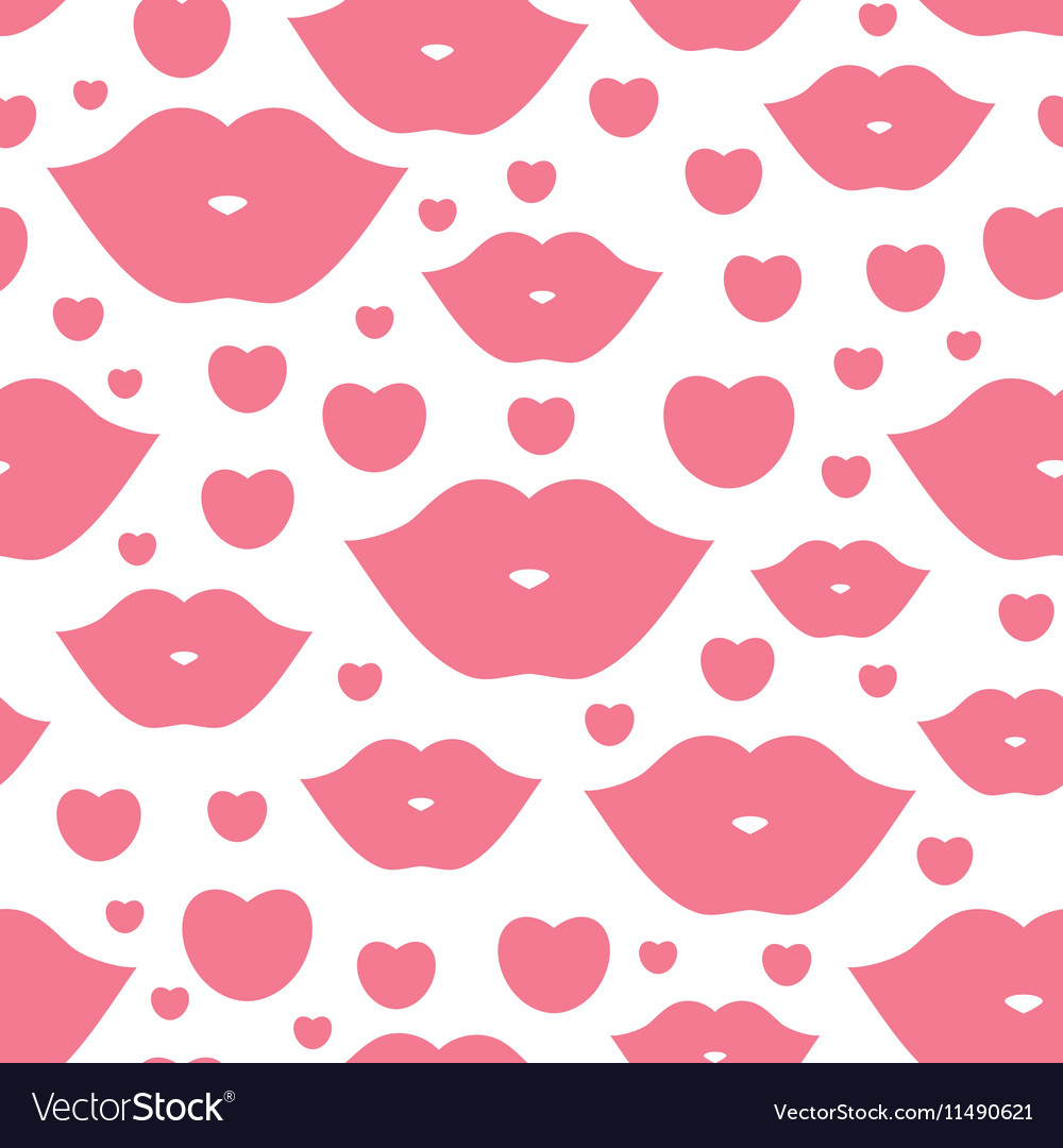 Seamless with lips vector image