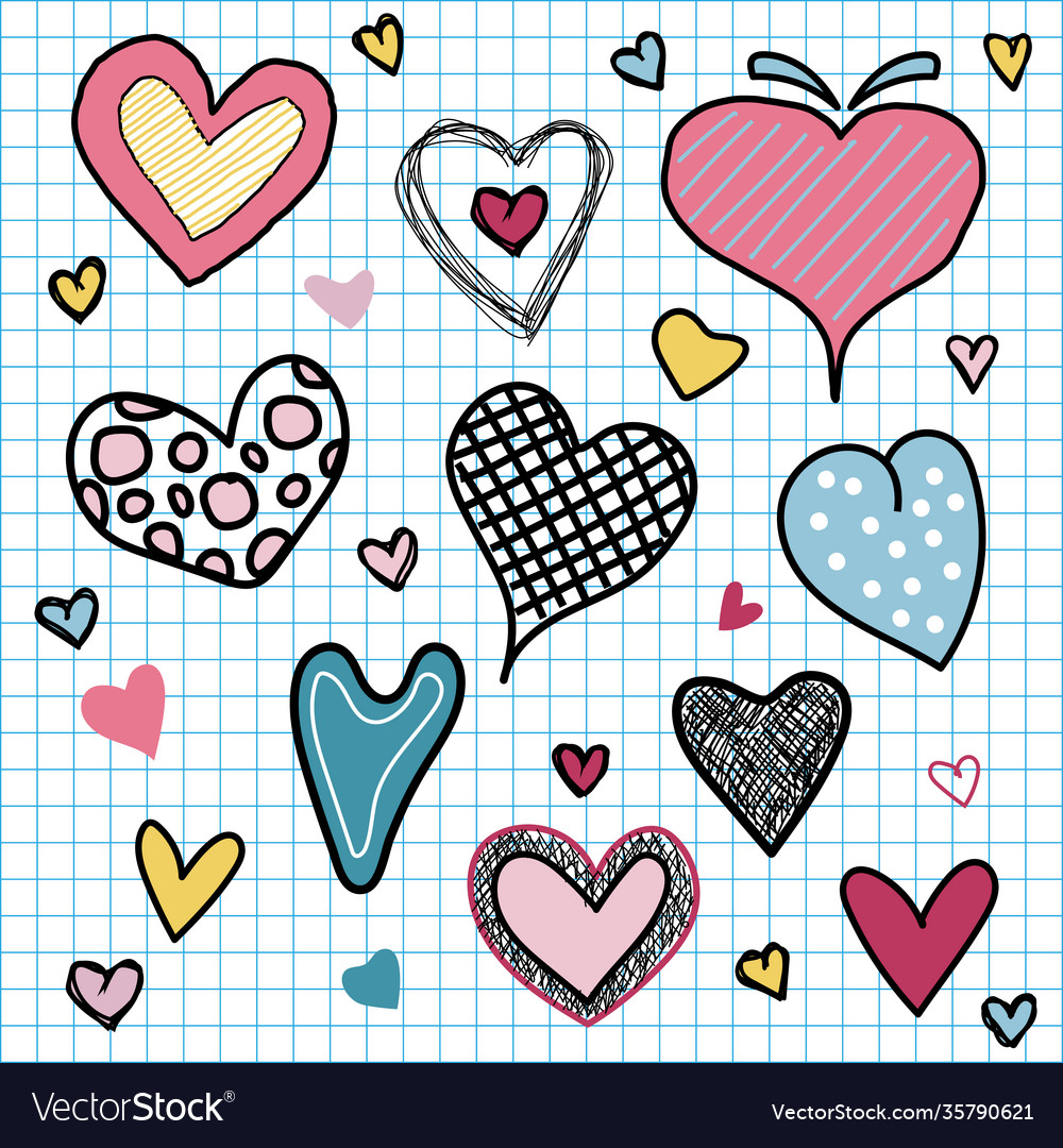Set valentines day hearts love doodles hand