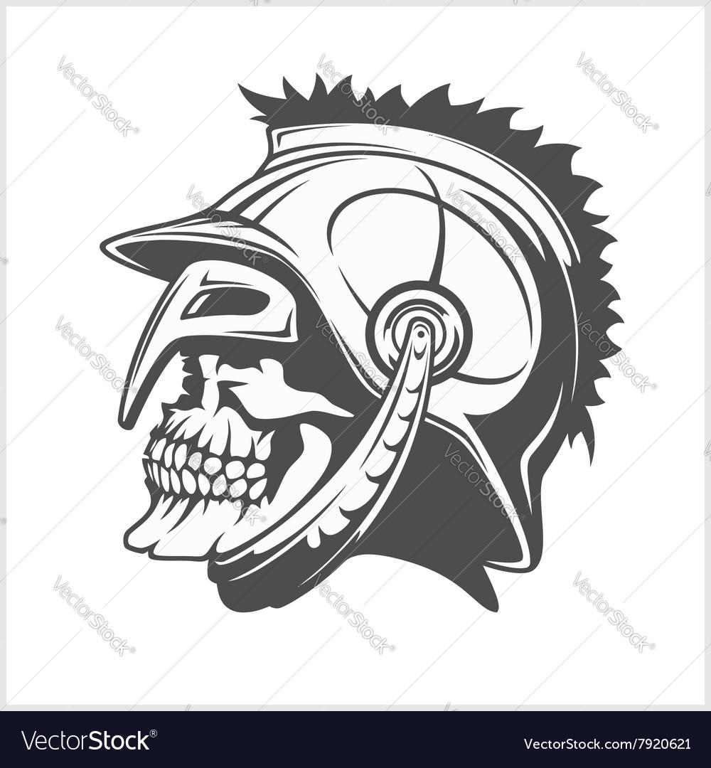skull roman legionary skull in helmet royalty free vector