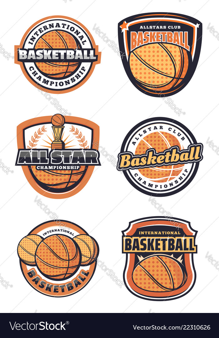 Basketball sport game symbols or icons with ball