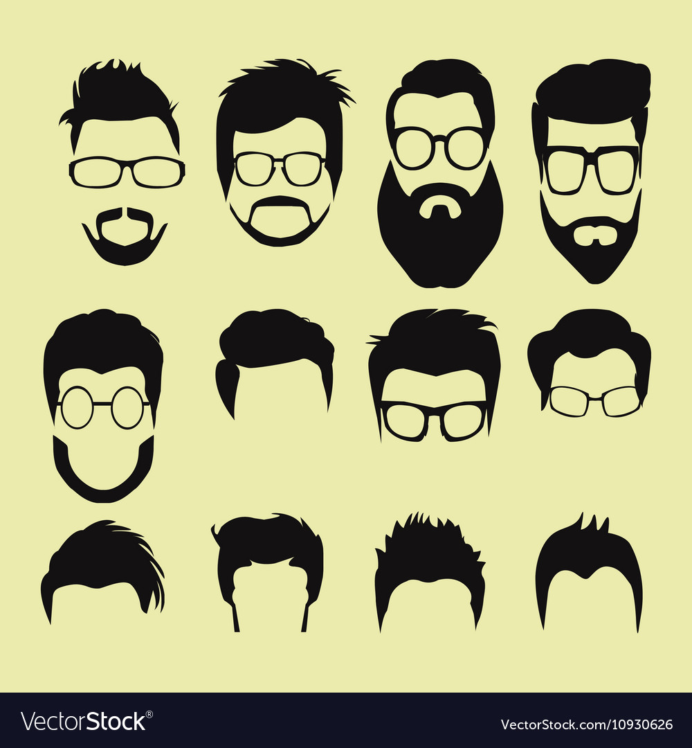 Cartoon hairstyles with beards and mustache