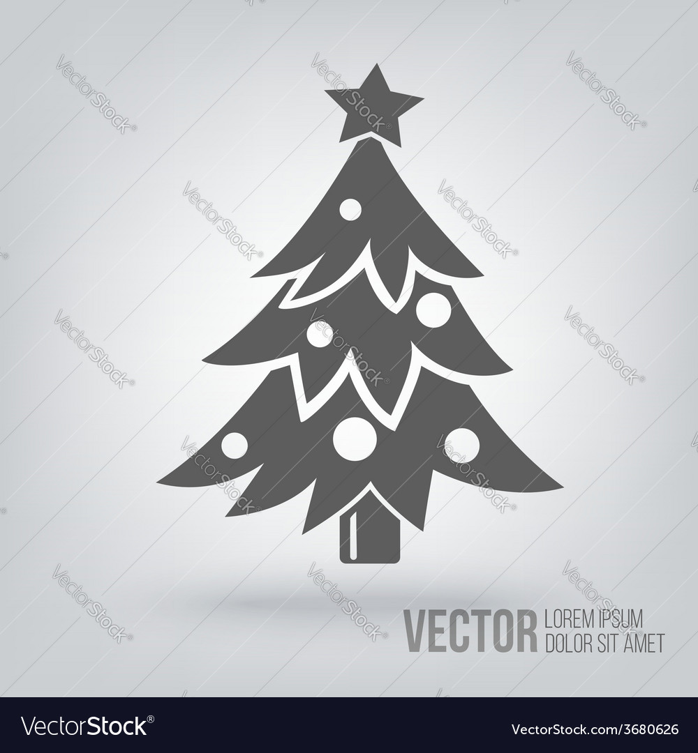 Christmas Tree Icon Isolated Black On White