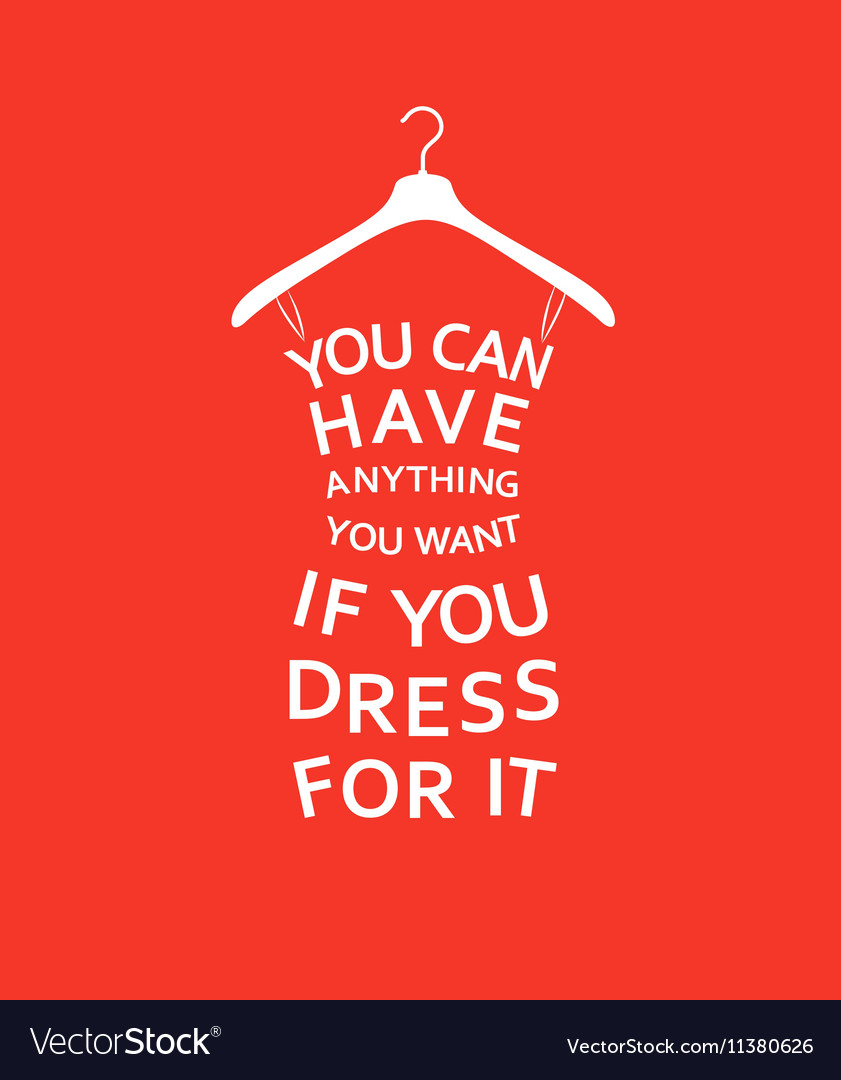 Fashion Women Dress With Quote On Red Background Vector Image
