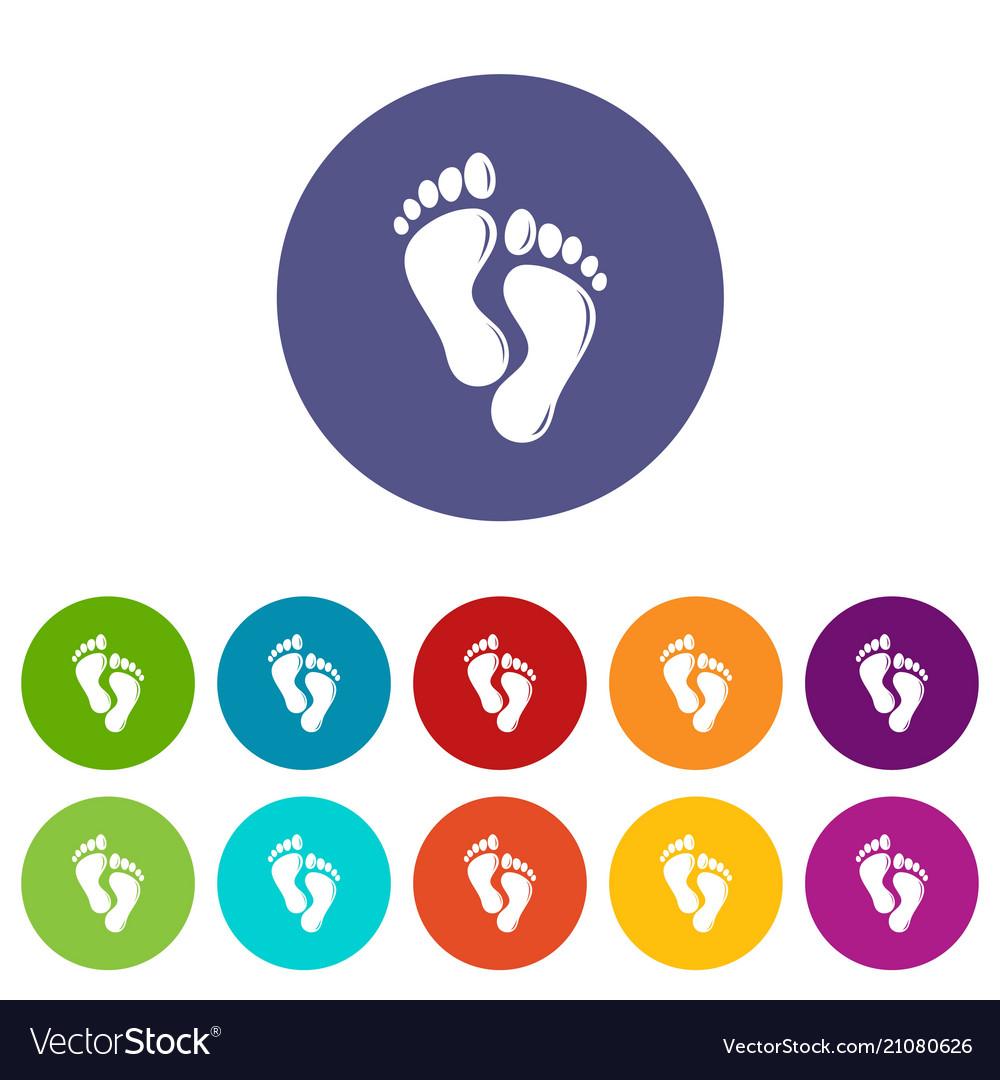 Footprints icons set color