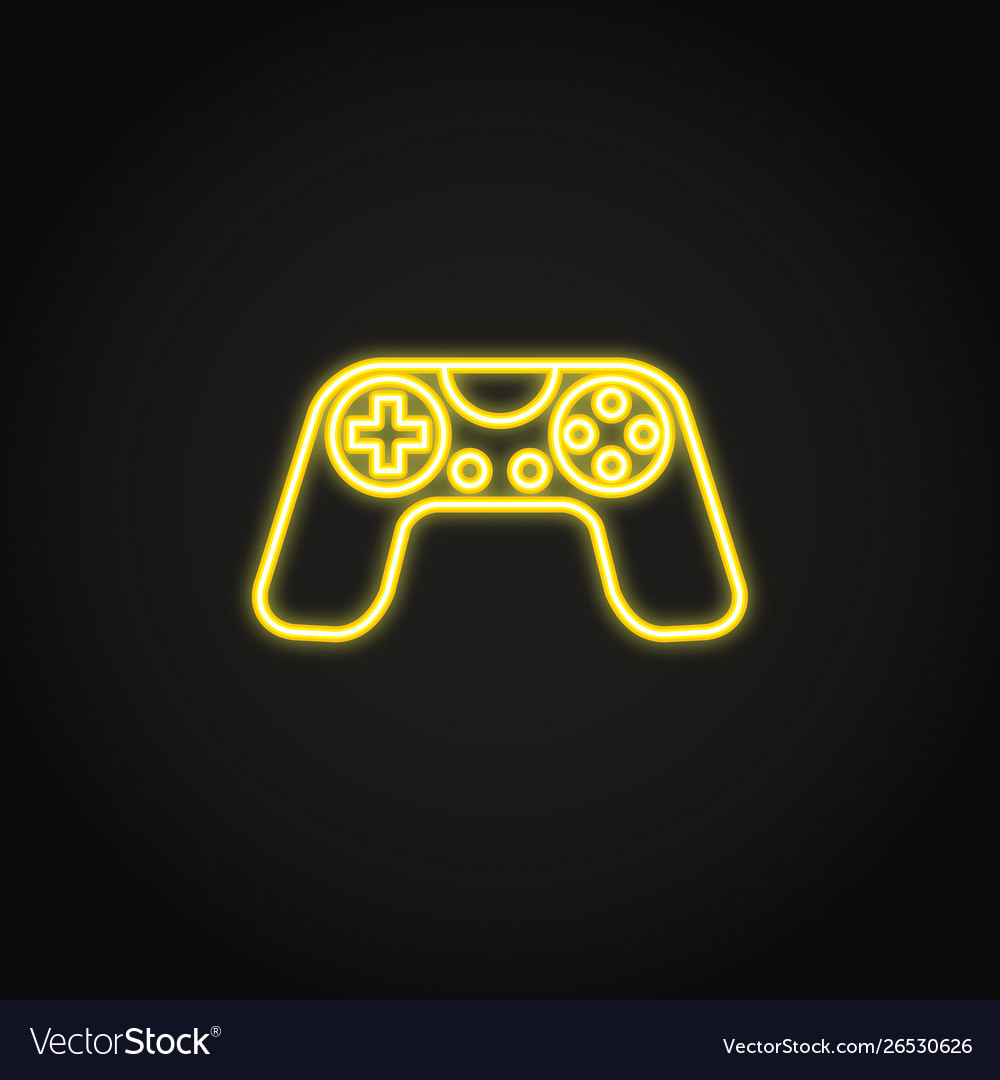 Game controller icon in glowing neon style