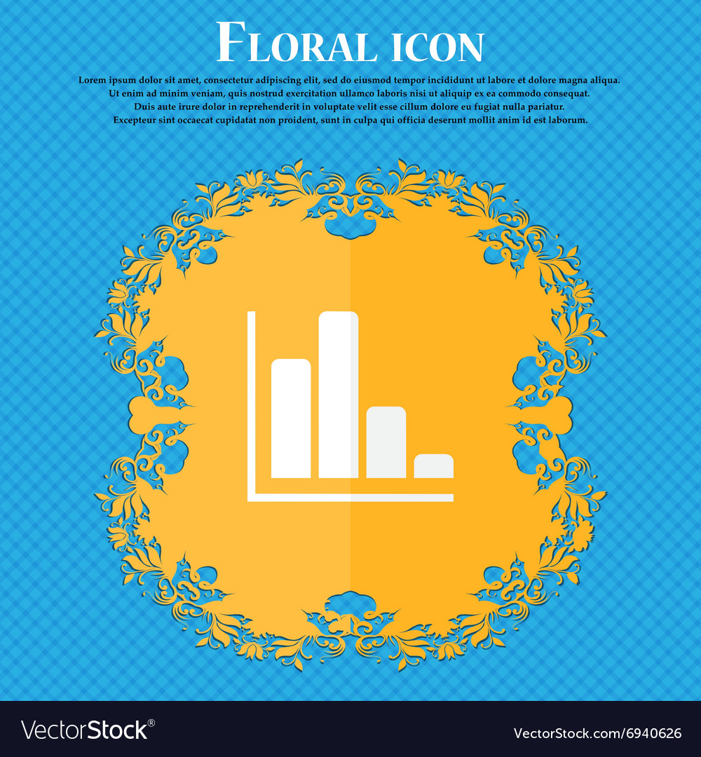 Infographic icon Floral flat design on a blue