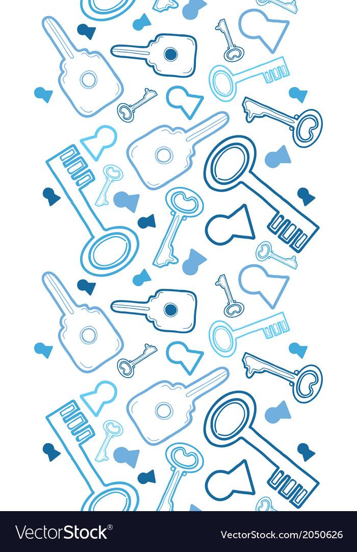 Keys line art vertical seamless pattern background vector image