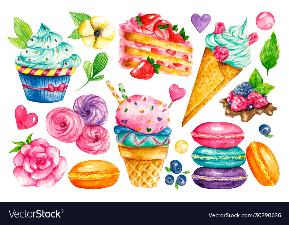 Sweet collection confectionery watercolor