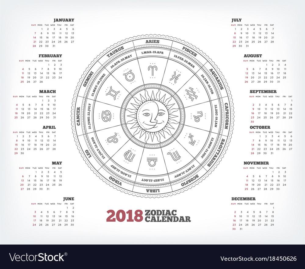 Zodiac Calendar June : Zodiac circle year calendar poster royalty free vector