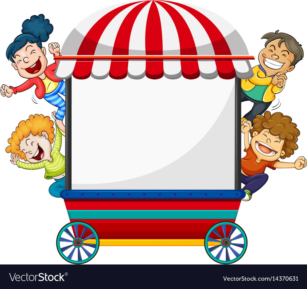 Background Design With Four Happy Kids And Cart Vector Image