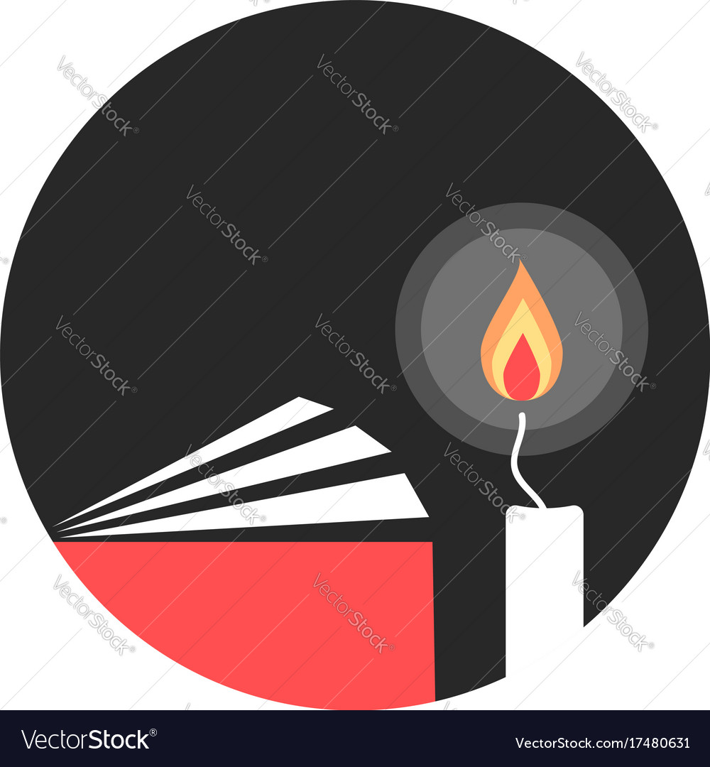 Candle and book in black circle