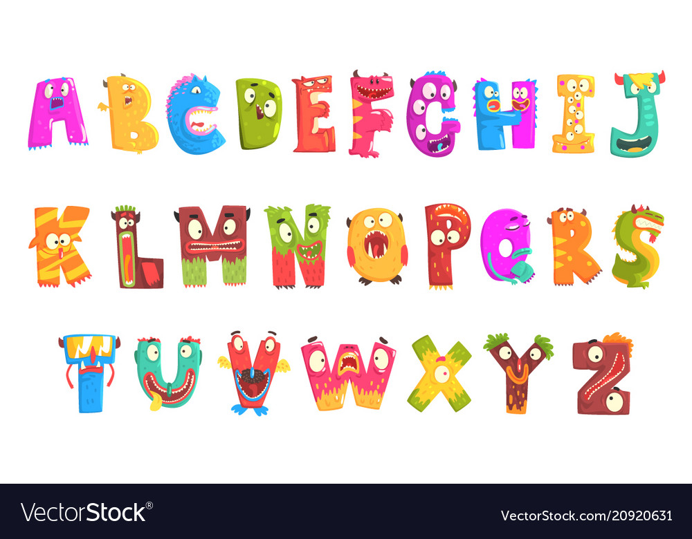 Colorful cartoon children english alphabet with