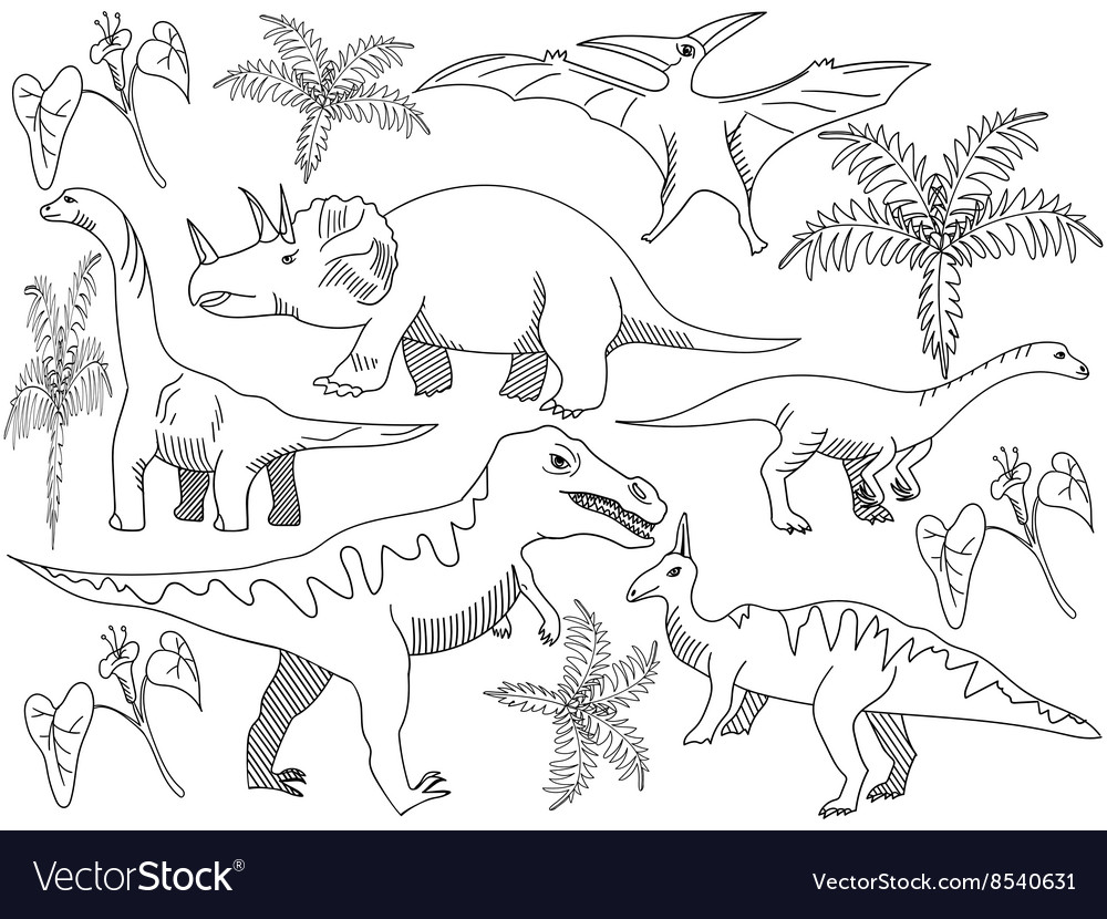 Dinosaur Coloring book for adults Royalty Free Vector Image