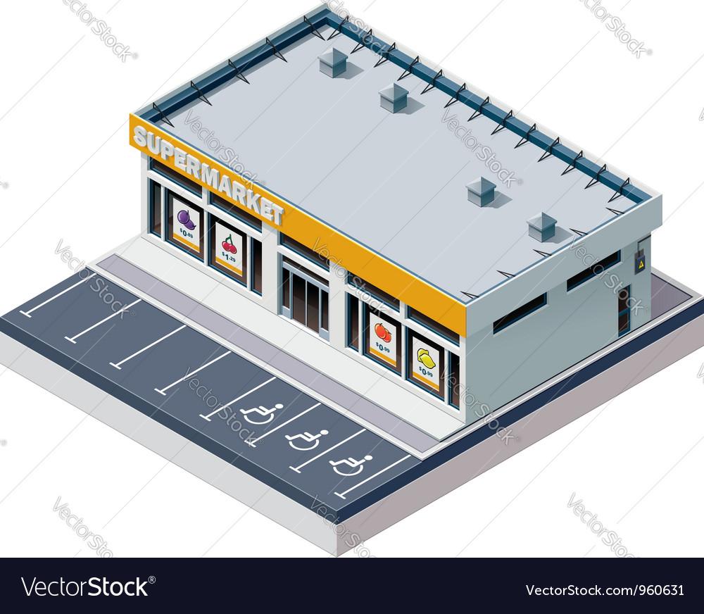 Isometric supermarket building vector image