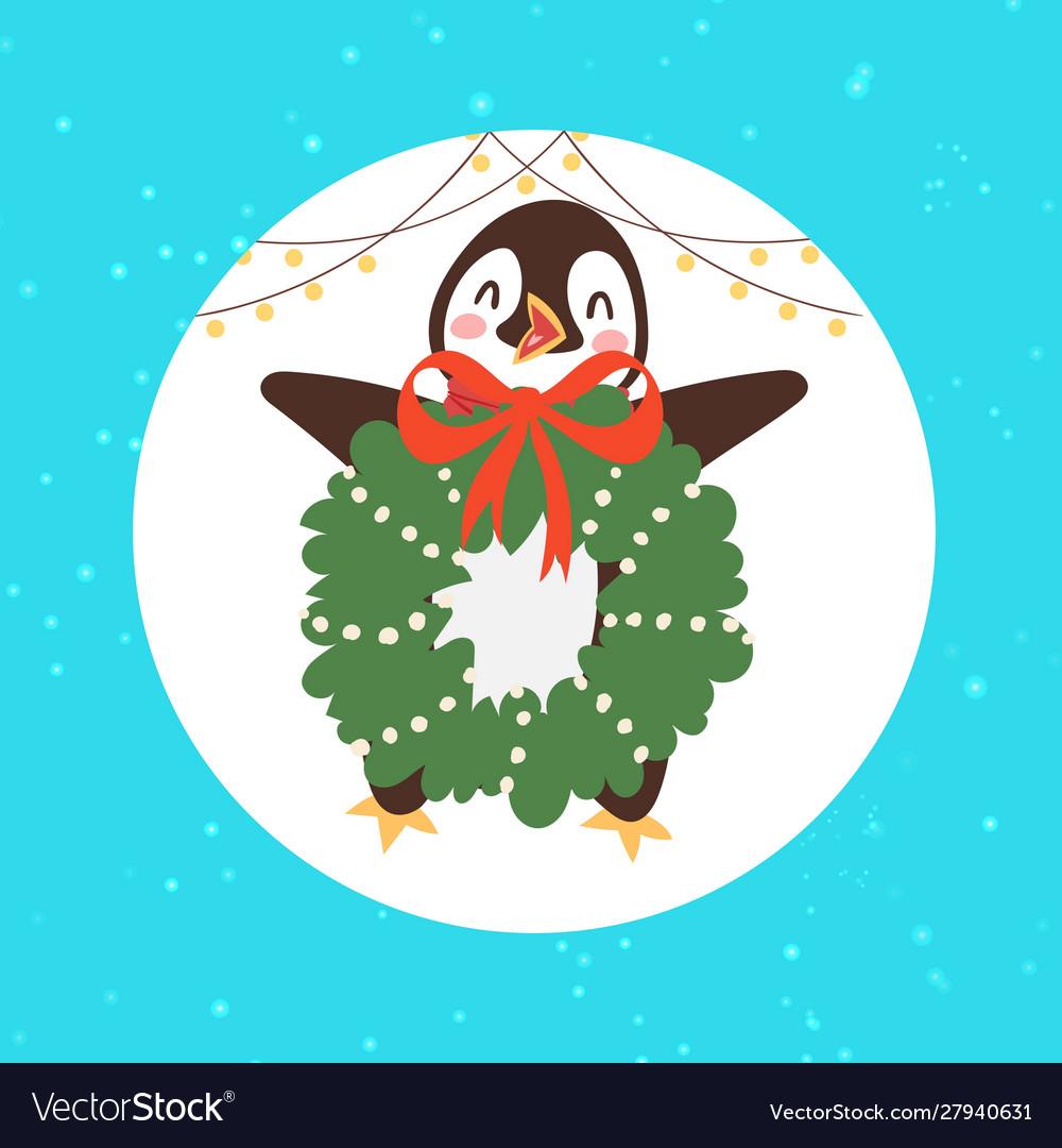 Merry christmas penguin bird with mistletoe wreath
