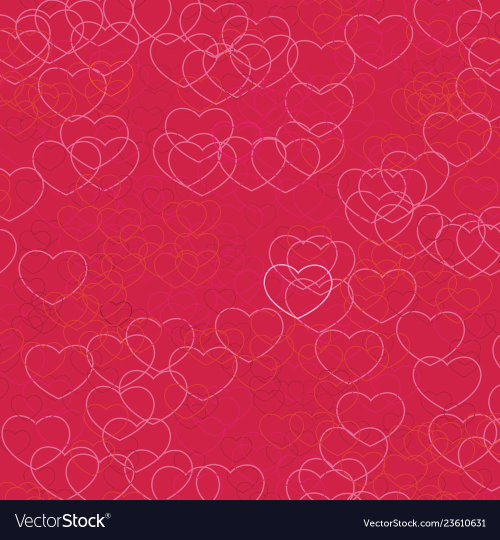 Pink hearts pattern on crimson background