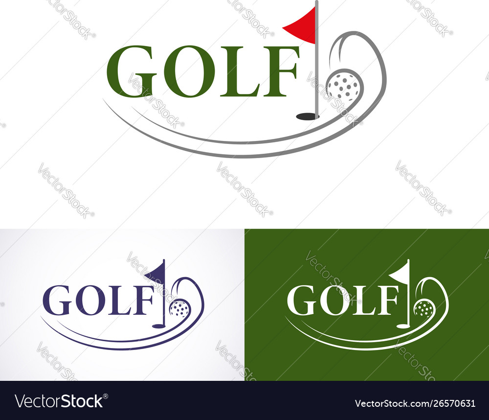 Set golf logo template logo is designed in a