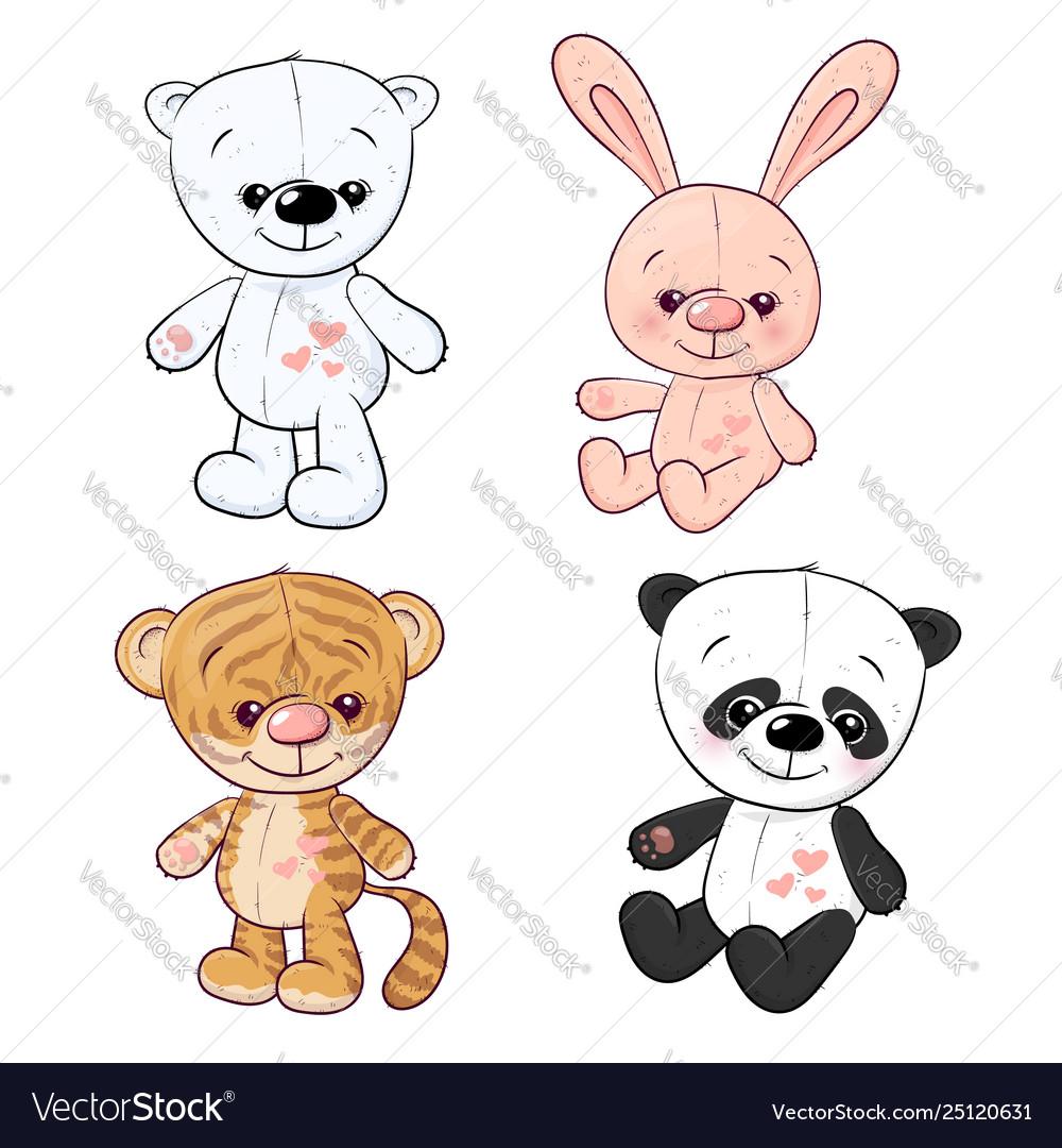 Set little tiger cub tiger cub and panda hand