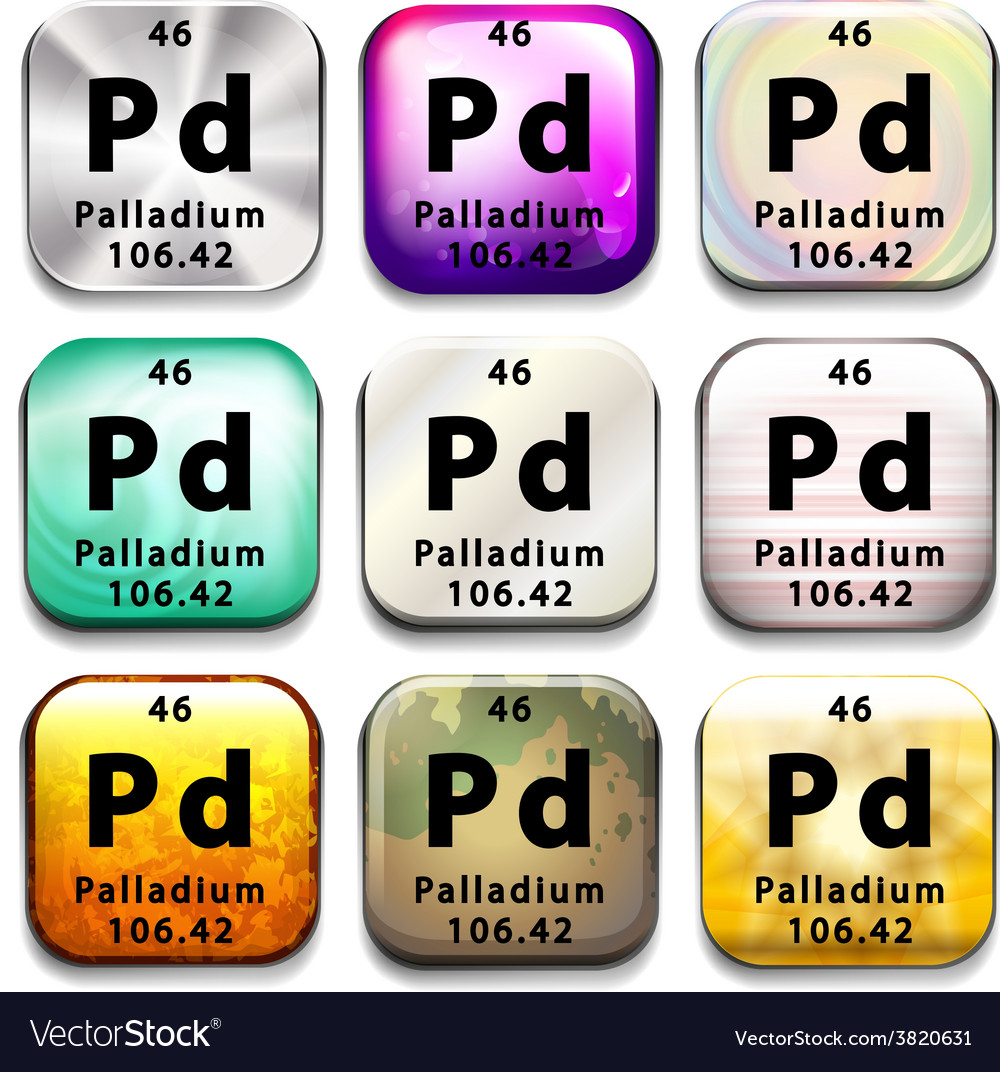 The Chemical Element Palladium Royalty Free Vector Image