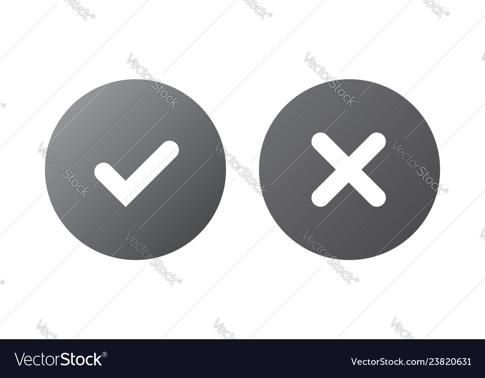 Tick and cross gray signs silver checkmark ok and