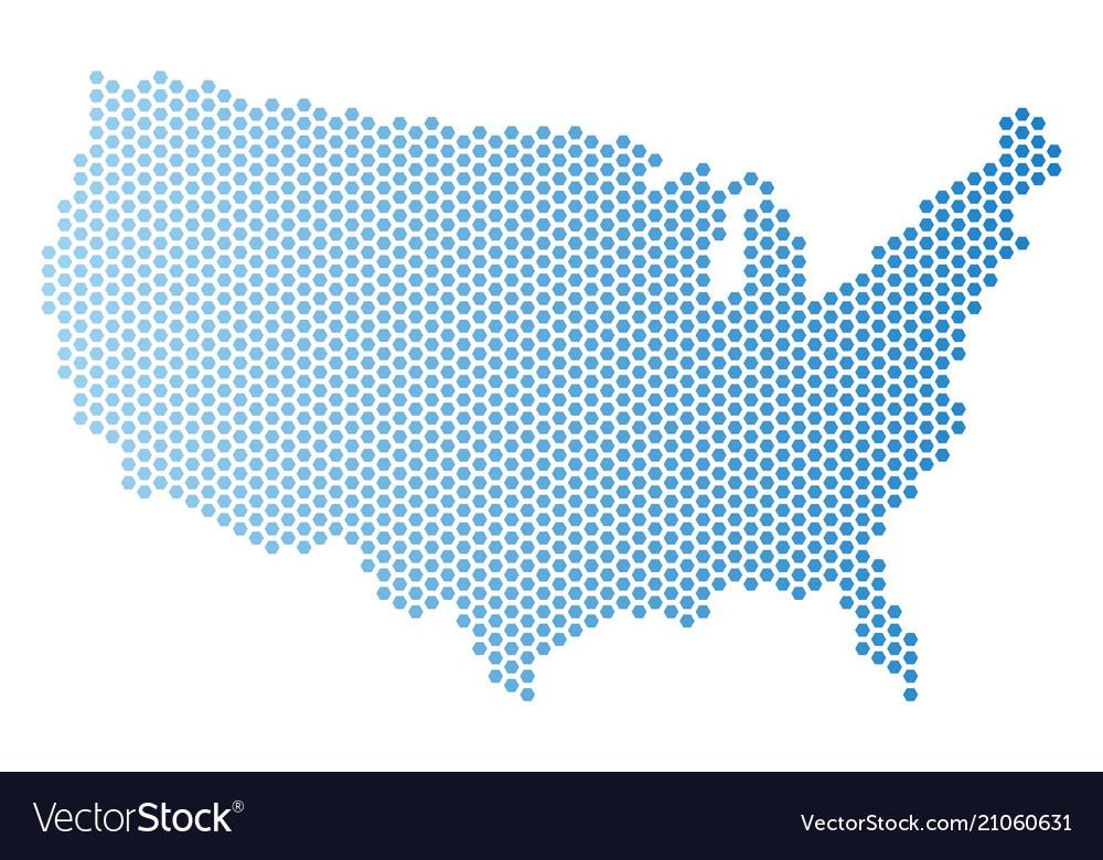 Usa map hexagonal scheme Royalty Free Vector Image