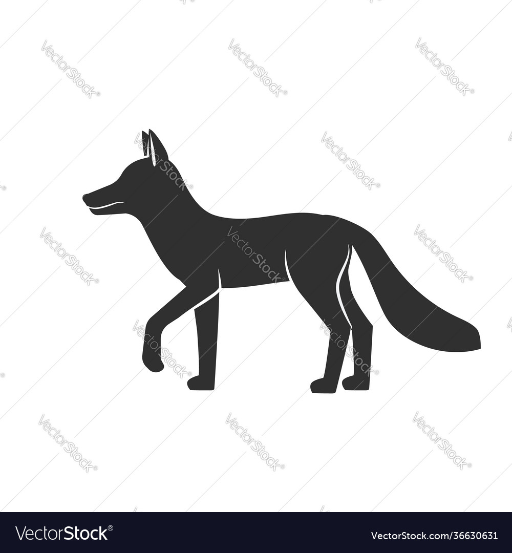 Wild animals fox black silhouette on white