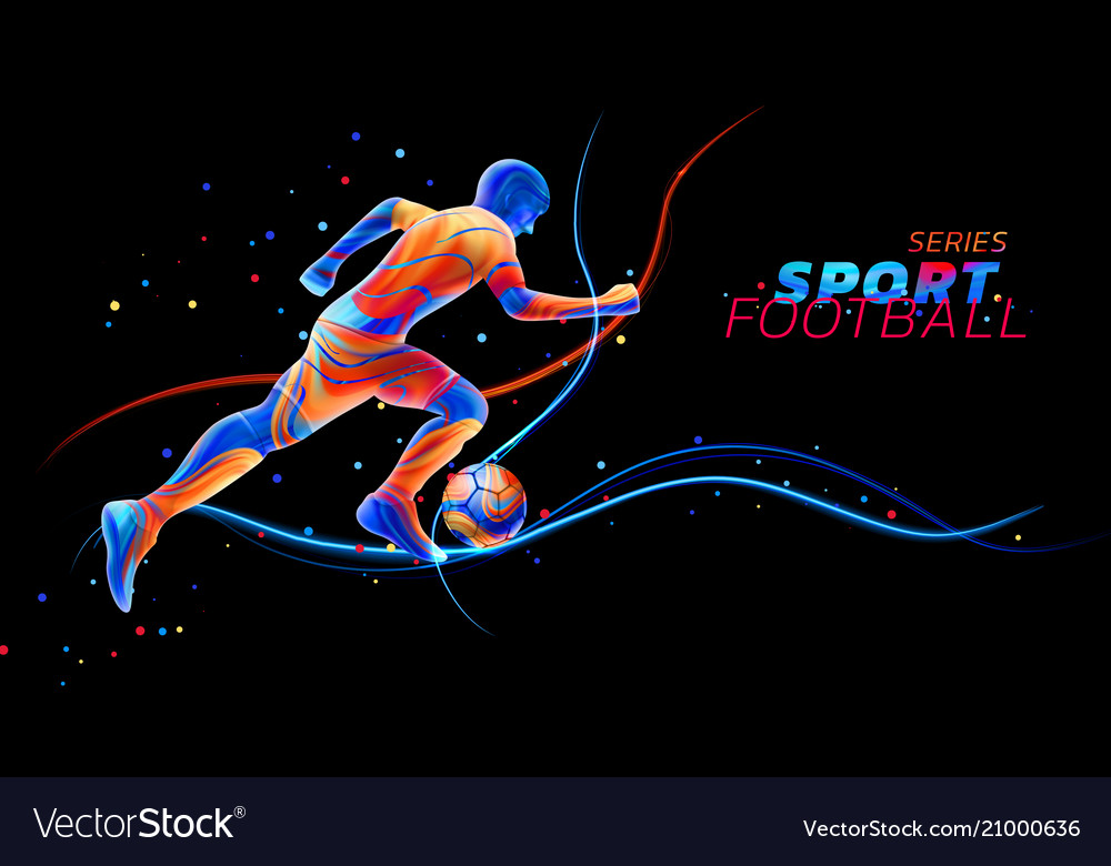 3d football player with neon light lines vector image