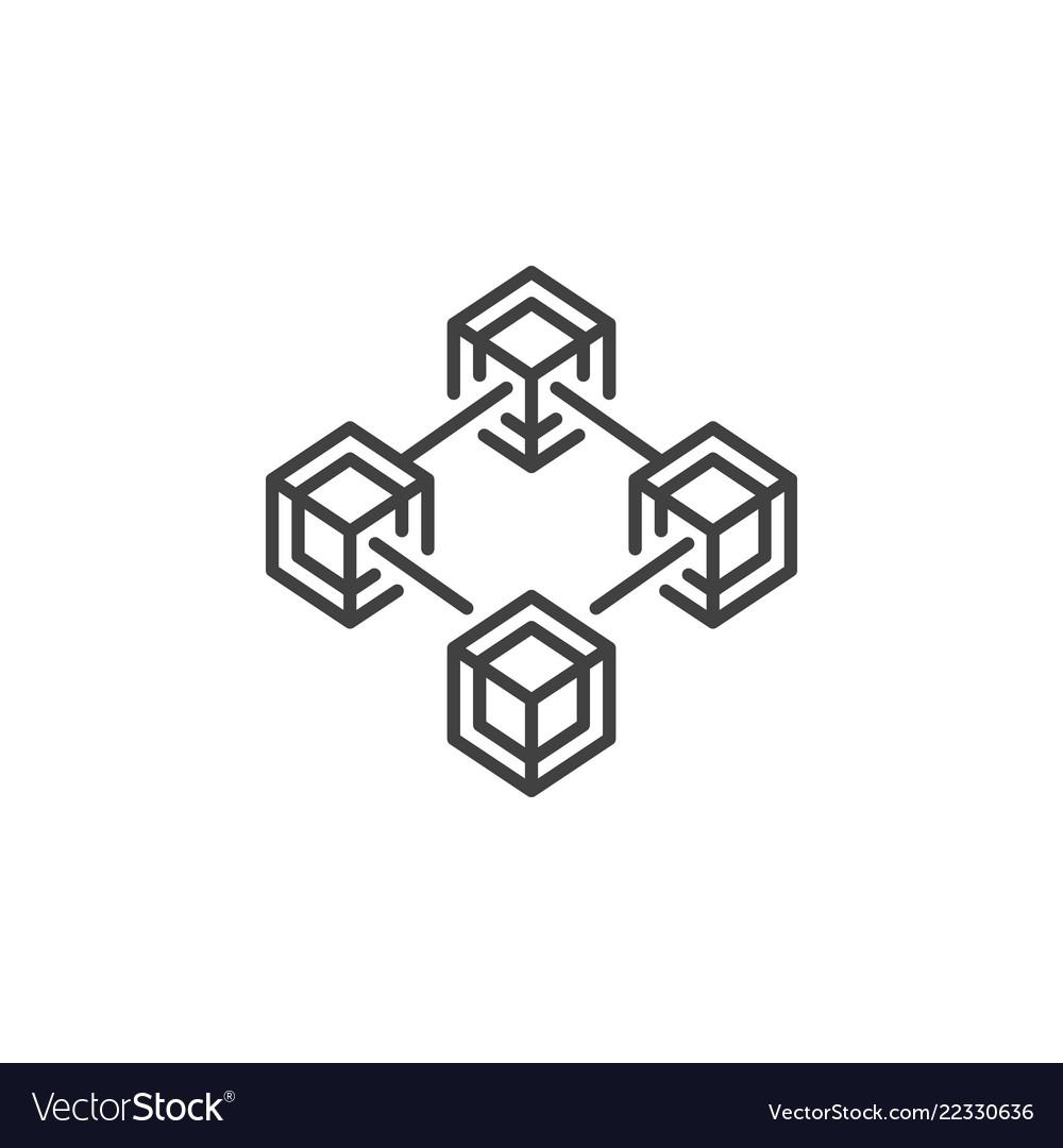 Blockchain technology outline concept icon