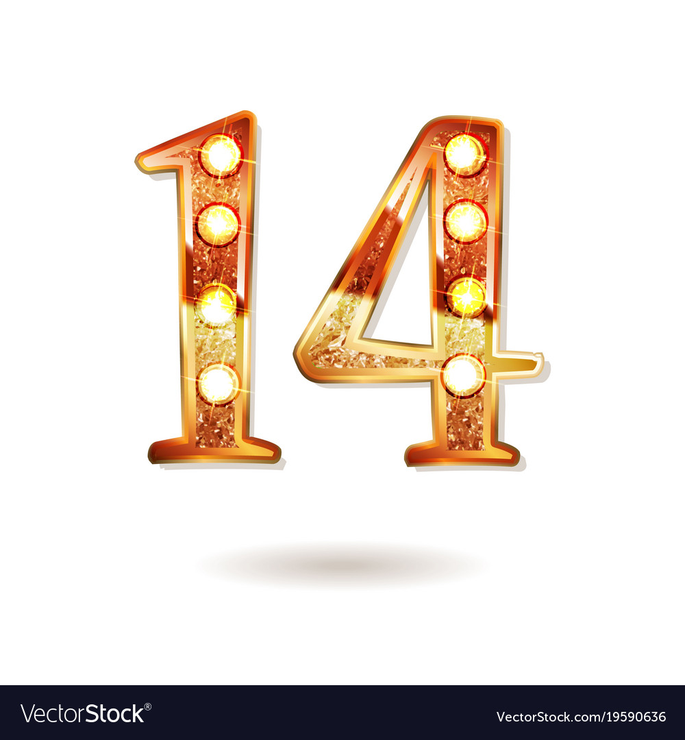 Celebrating Of 14 Years Anniversary Royalty Free Vector