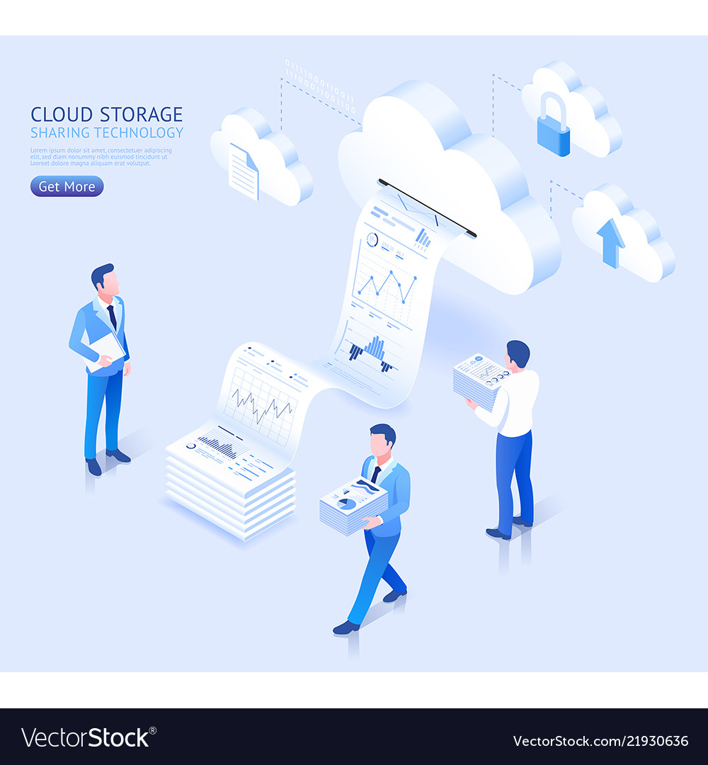 Cloud storage sharing technology isometric
