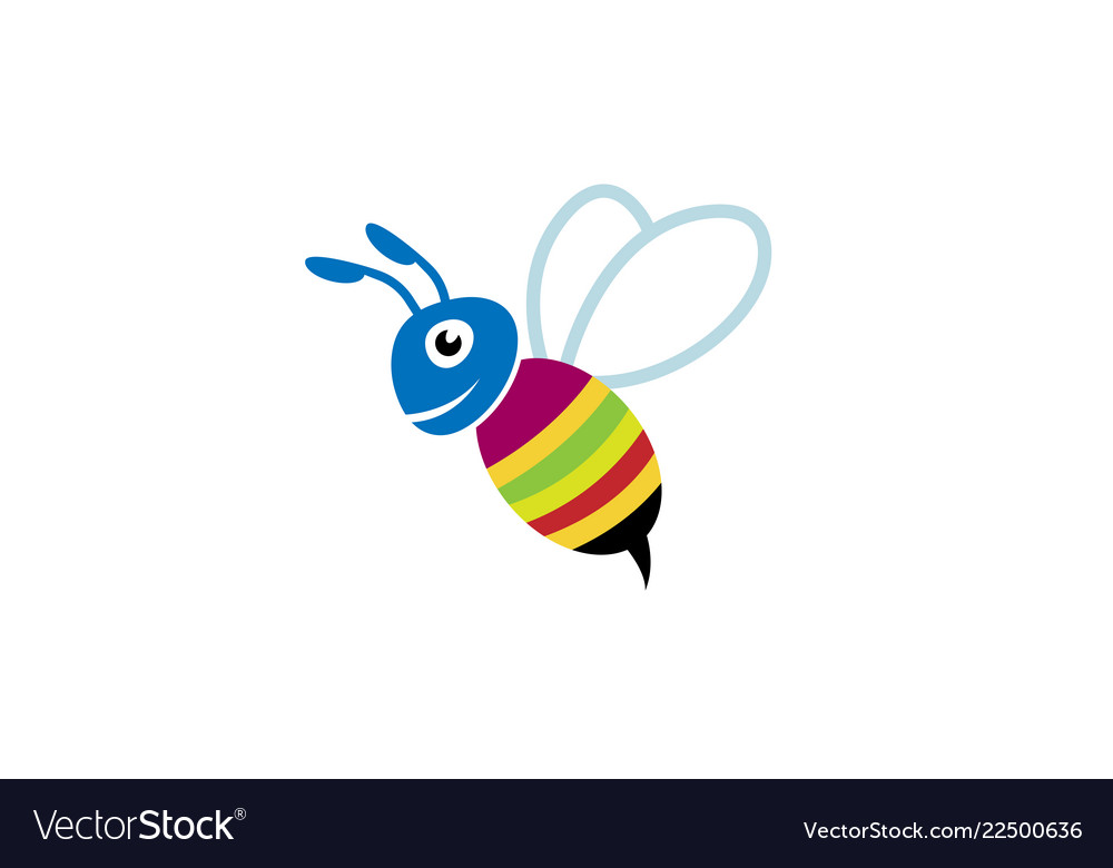 Cute colorful bee smile logo