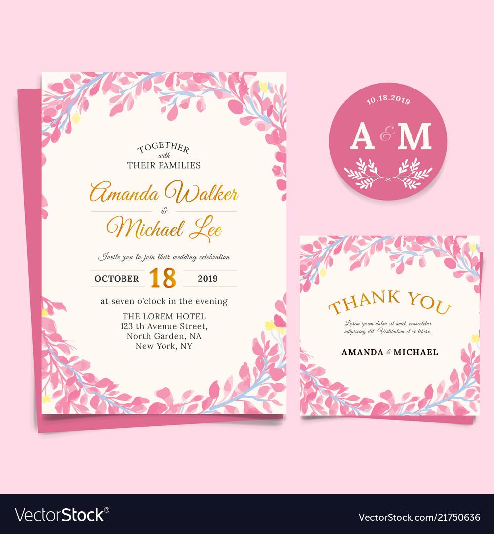 Floral wedding invitation elegant thank you card