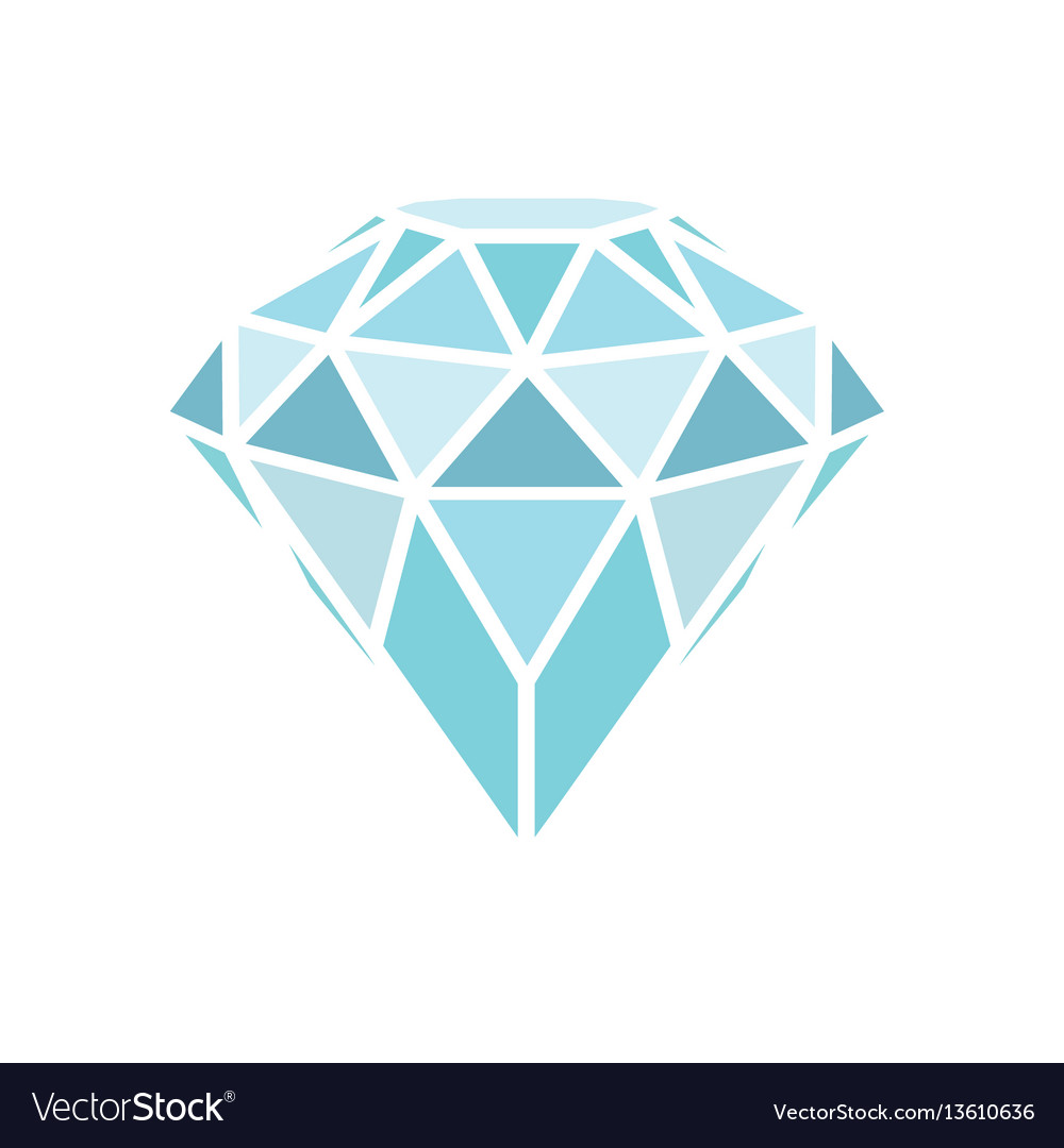 Geometrical blue diamond isolated on white