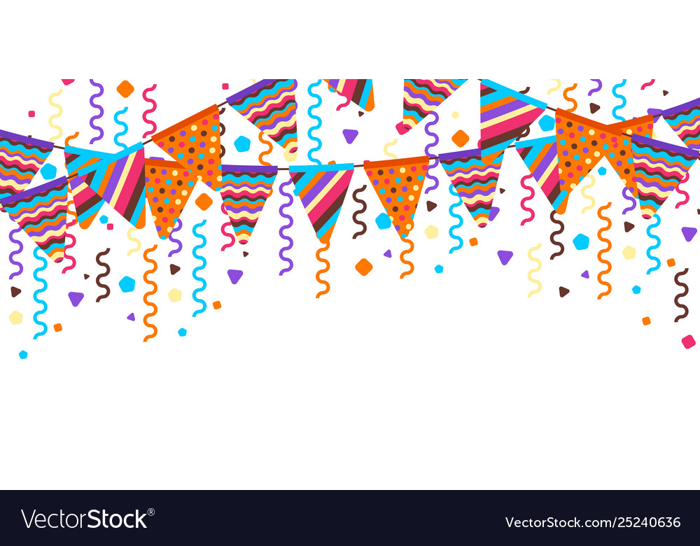 Greeting card with garland flags