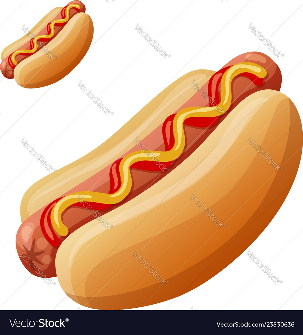 Hot dog detailed icon isolated on white vector