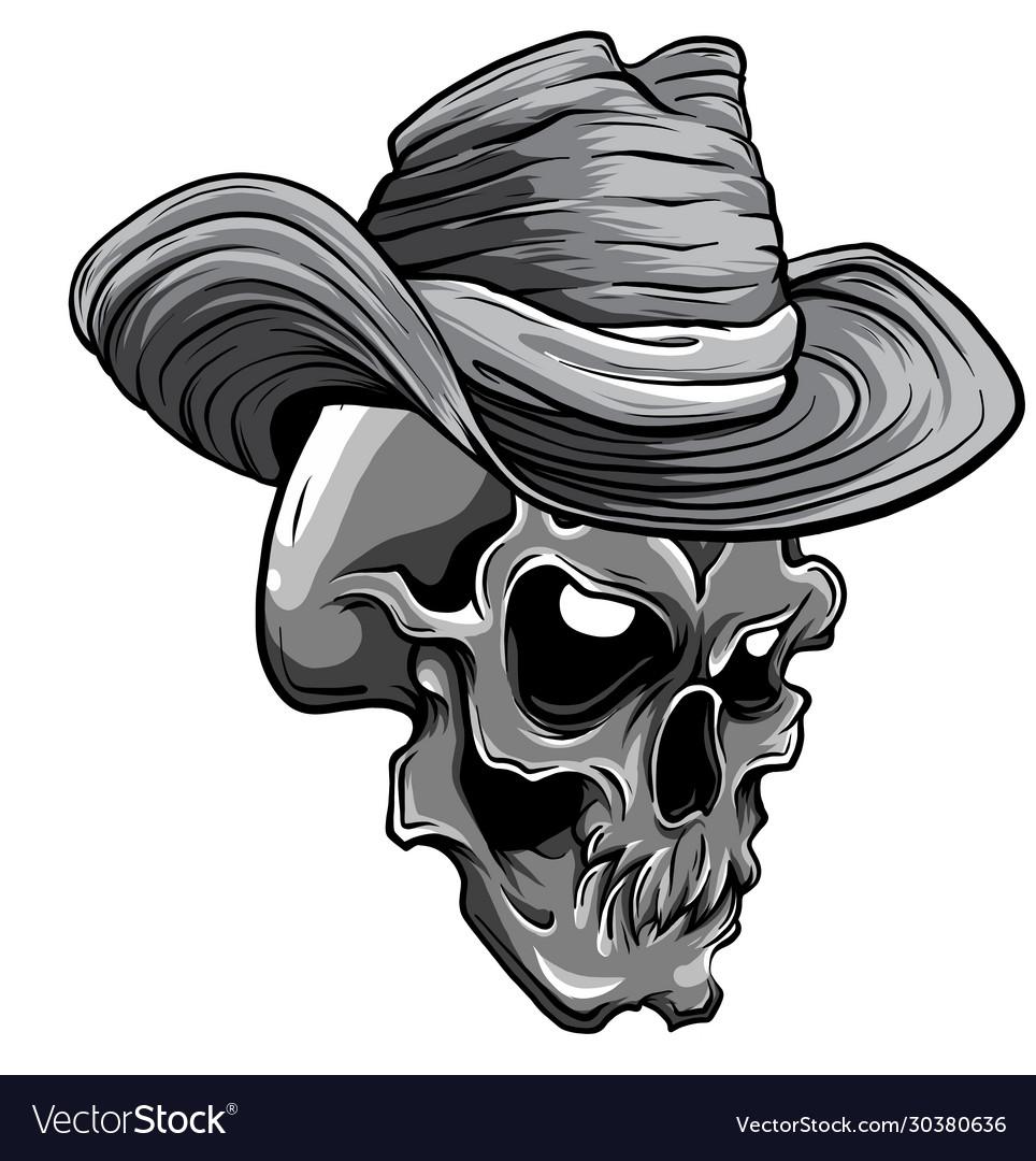 Monochromatic cowboy skull