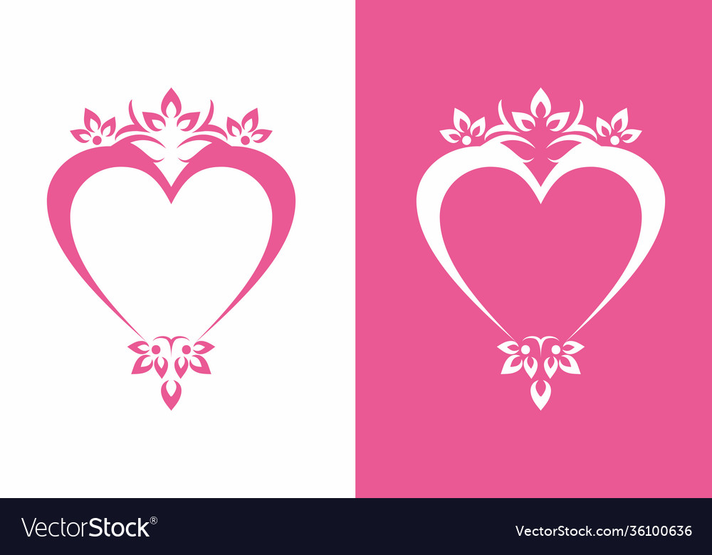 Pink love sign with ornament logo