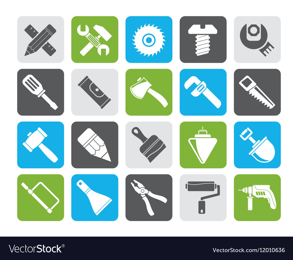 Silhouette Construction tools object icons