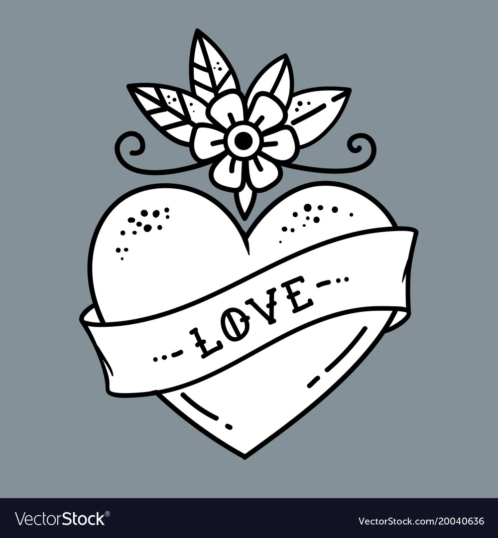 Tattoo heart with flower and ribbonsymbol of love