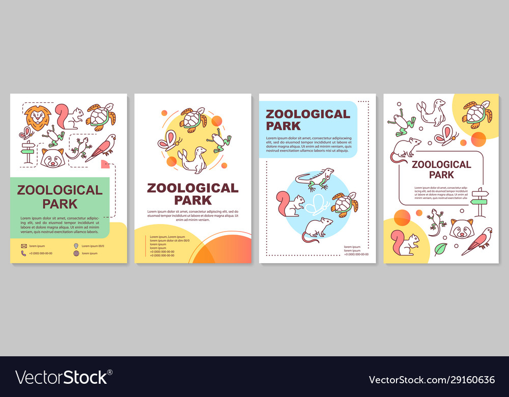 Zoological park brochure template layout zoo