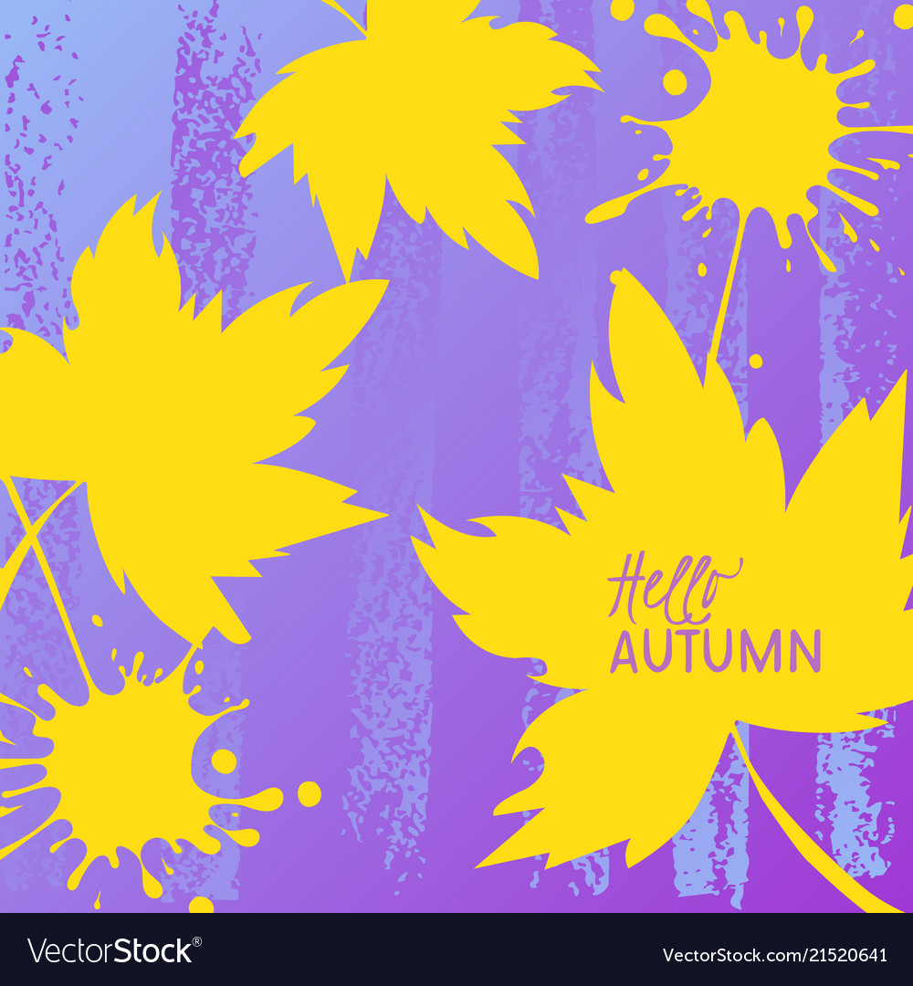 Autumn leaves with text on a hand drawn background