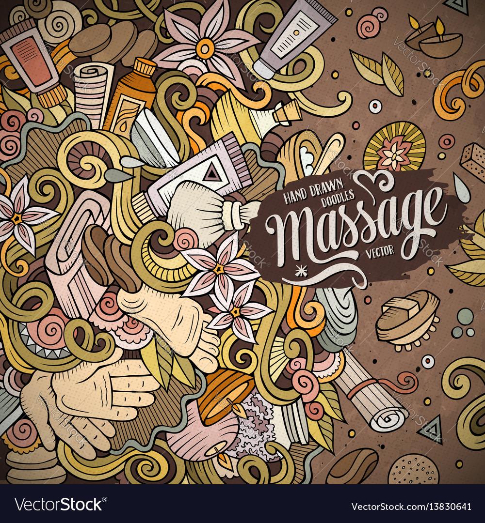 Cartoon cute doodles massage frame
