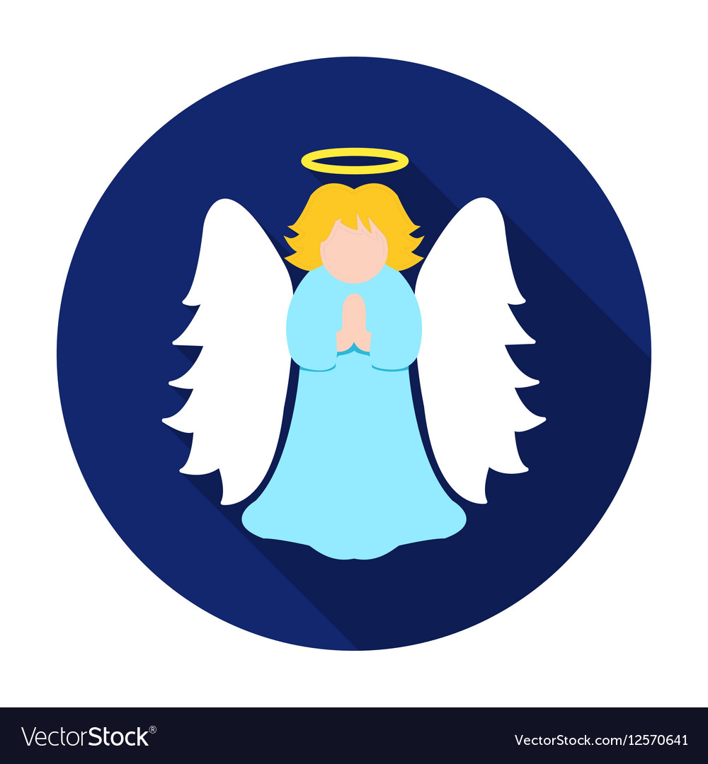 Christmas angel icon in flat style isolated on