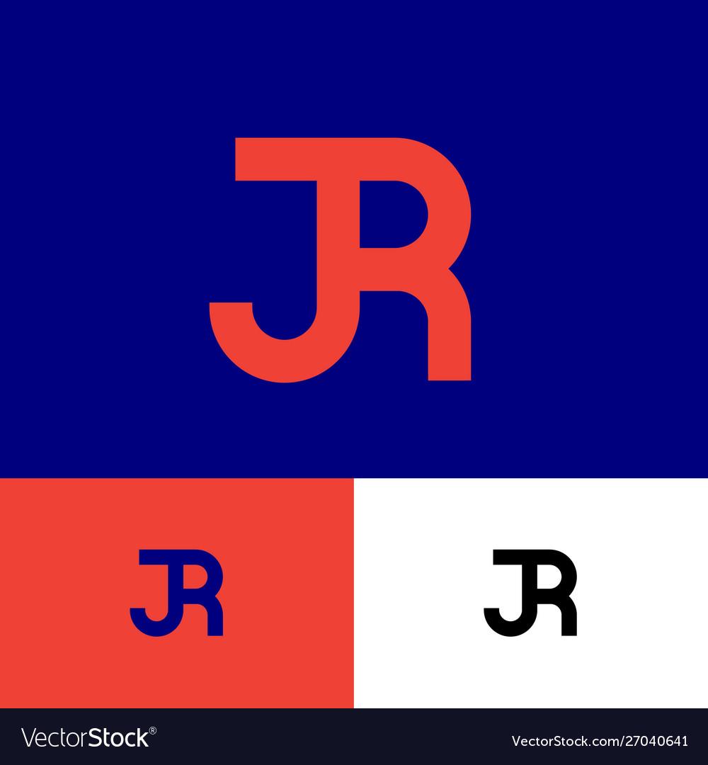 J and r monogram consist orange letters