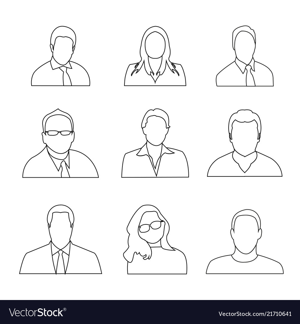 Man woman avatar outline icon set collection peop